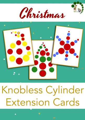 Christmas Themed Knobless Cylinder Extensions - Montessori Nature Printables - Montessori Nature Blog