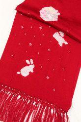 【七五三】7歳女の子正絹志古貴(しごき)赤色(レッド)/うさぎ絞り刺繍入り子供用七歳七才女児