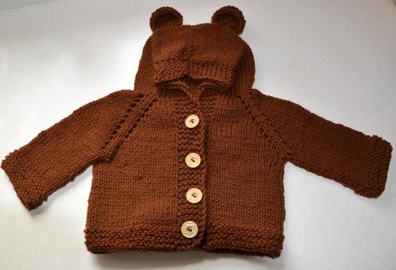 Teddy Bear Jacket Cardigan Hooded Cute by KnitandCrochet2009, $40.00