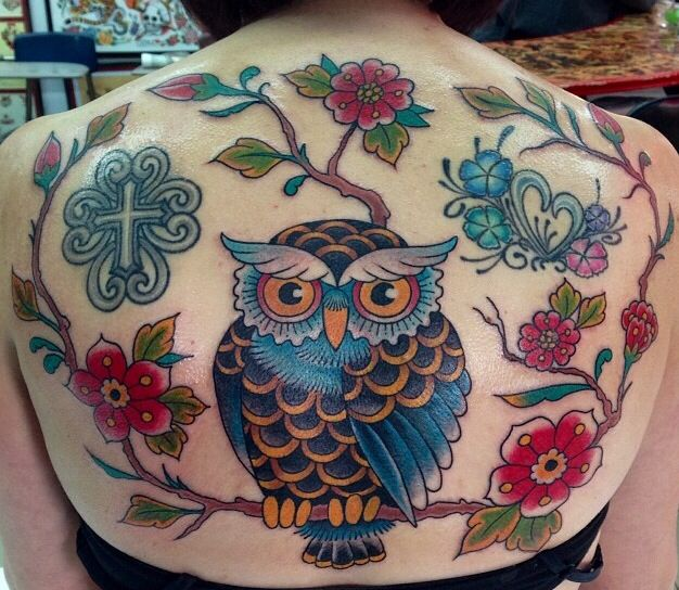 Owl and branches by josh arseneau at elm street tattoo for Elm street tattoo