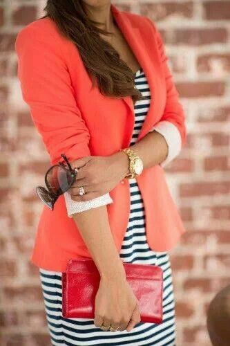 Striped dress with peach jacket