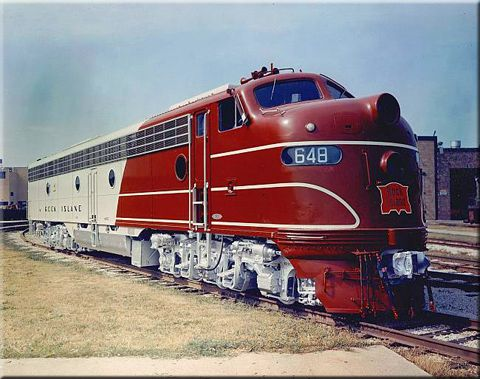 """A company photo of new Rock Island E8A #648 circa 1951.  These locomotives pulled the railroad's famous """"Rockets."""""""