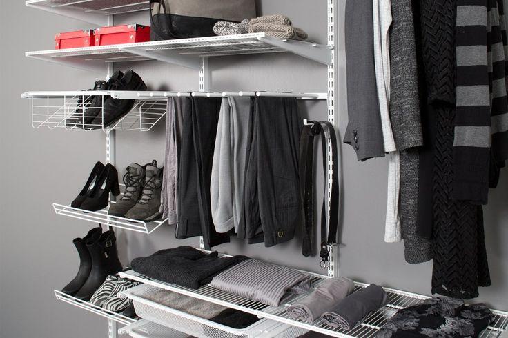 Förvaringssystem WIDE, väggfast montering. Byghängare, skoställ, trådhyllor, mesh backar, klädstång