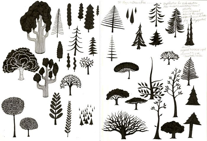 50 Ways to Draw a Tree, 2008- (sketchbook page in progress)  materials: ink, graphite  description: Sketchbook page working out as many ways as possible to draw a tree in only 2 colors (black and white).