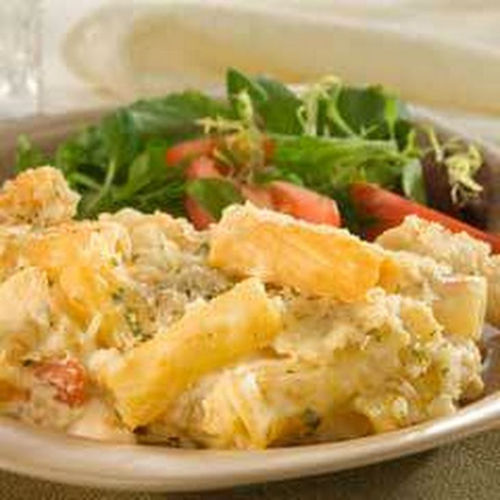 Oven-baked Four Cheese Rigatoni Rosa Recipe Main Dishes with rigatoni or large tube pasta, ricotta cheese, mozzarella cheese, grated parmesan cheese, eggs, bertolli four chees rosa sauc, italian seasoned dry bread crumbs, ground black pepper, fresh basil leaves