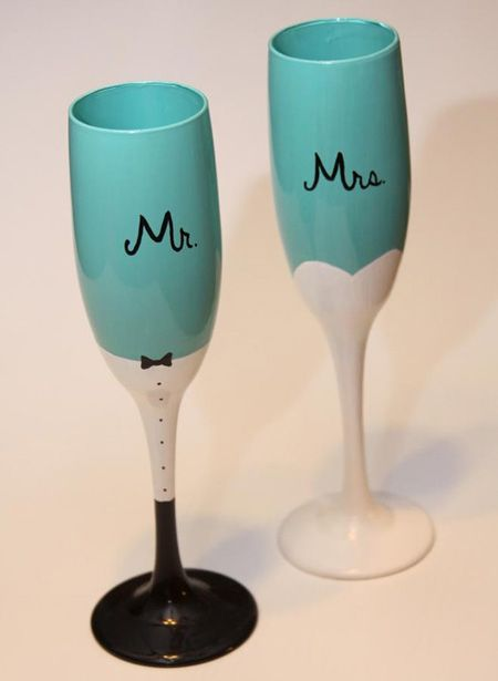Mr. and Mrs. turquoise wedding champagne flutes by ArtsyAsh101 on Etsy
