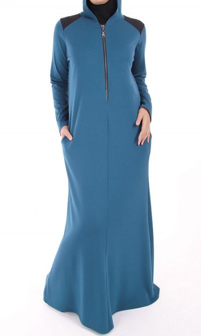 Hooded Jersey Winter Abaya Dress. Casual jersey dress with hood and 2 pockets Long front closure for nursing practice Shoulder Yoke Djellaba modern sportswear style One size from 36 (UK 8) to 42 (UK 14)