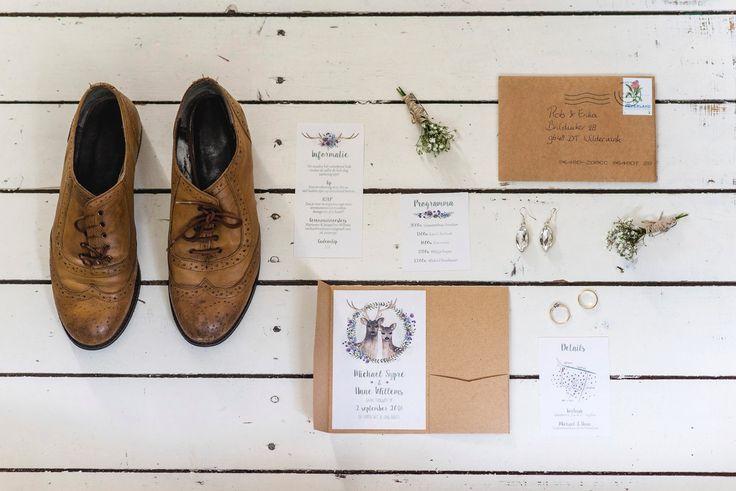 Wedding stationery | Bohemian wedding | Kraft paper | Anouk Wubs Photography