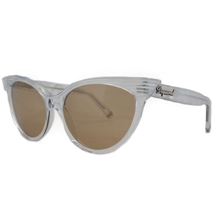 DSquared DQ 0101 22B Clear Slim Cateye Full Rim Sunglasses