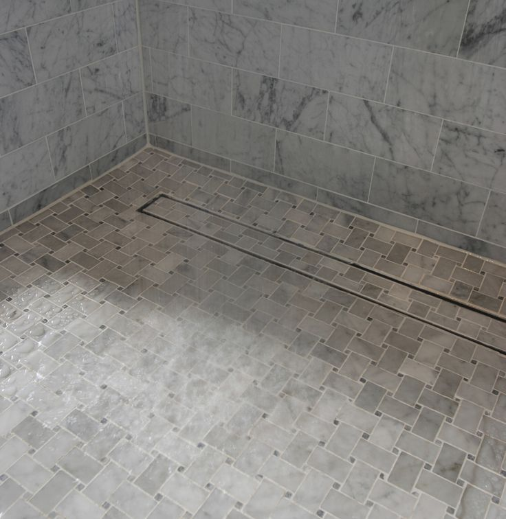 Beautiful Shower With A Luxe Linear Drain Tile Insert Tray Against The Far Wall