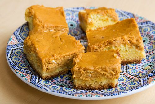 Pumpkin, Peanut butter or Banana Gooey Butter Cakes (Bake the full 50 minutes or 5 minutes longer if using baking strips). Made the pumpkin and peanut butter versions. Both are great but PB is our favorite.