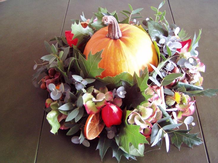 autumn wreath with pumpkin