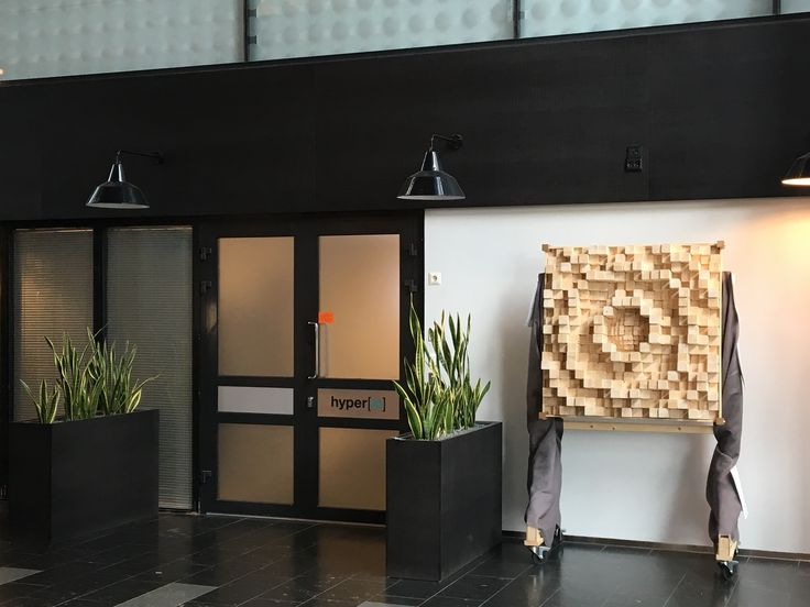 Wooden acoustic panel - a.k.a. PRD, Skyline. Measures 111x111 cm corner to corner, 25 cm deep. Assembled from 4 equal units. Mounted on a rollable stand. Weighs 65 kg, without stand.
