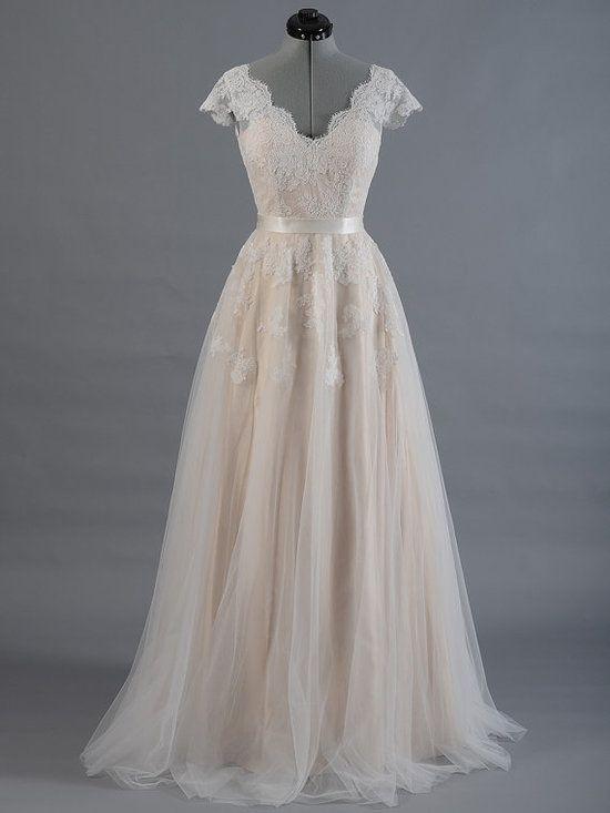Boho Wedding Dresses with Cap Sleeves,Lace Bridal Dress,11277 – Kleider1