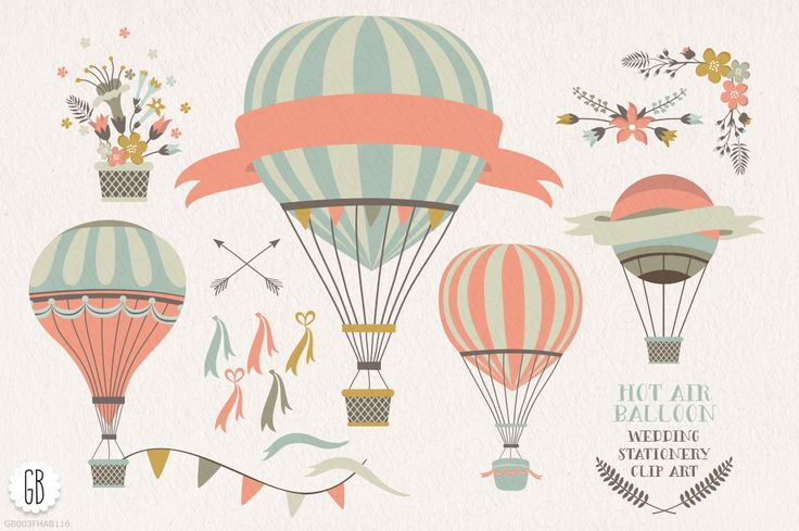 Hot air balloon flowers clip art by GrafikBoutique on Creative Market