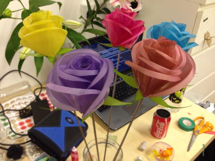 Handmade Plastic Bottle Roses