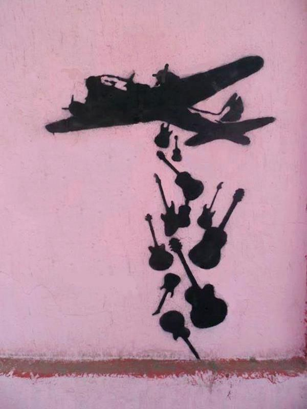 #banksy #graffiti #stencil Make music not war Make art not war