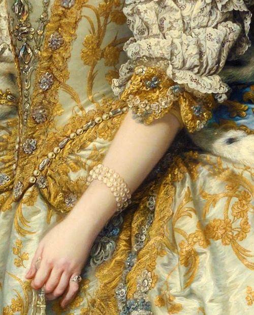 Detail: Marie Leszczinska, Queen of France (1747) Charles-André van Loo