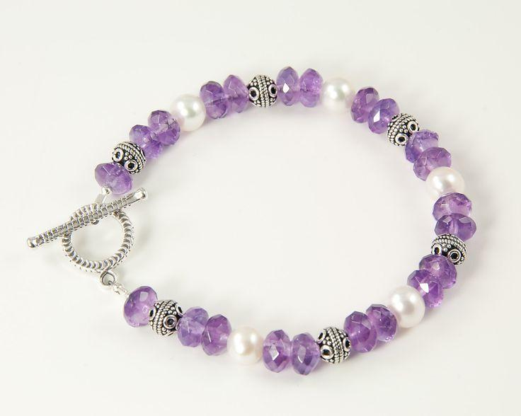 Amethyst and pearl bracelet in sterling silver, February birthstone jewelry, purple beaded bracelet, handmade jewelry. $58.00, via Etsy.