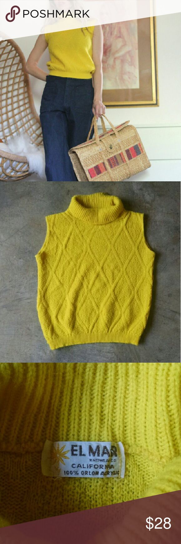 "Vintage 60s 70s Knit Vest Top Sunshine in a top  bright yellow knit 60s 70s vintage knit sleeveless turtleneck top estimated size m but could fit various sizes depending very much on desired fit. armpit 18"" length: 19"" has some stretch Shown on 5?8? size 4/32d.  has some pilling/just normal wear to the fabric from age/wash/wear but looks great overall. 60s vintage yellow shirt top mod hippie boho summer knit coachella festival vest sweater Vintage Tops"