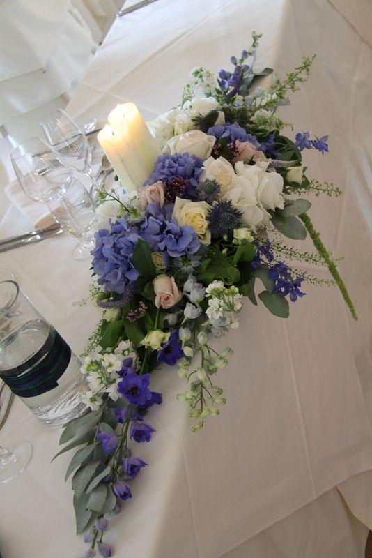 Flower Design Events: Scottish Themed Deep Blue & Nude For Rachel & Stuart's Eaves Hall Wedding Day