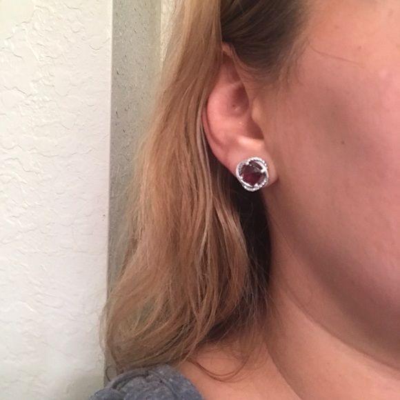 David Yurman Jewelry - David Yurman Garnet Infinity Earrings