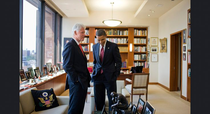 Obama meets with former President Bill Clinton in his New York office on Sept. 11, 2008.