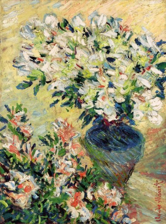White Azaleas in a Pot ~ Claude Monet