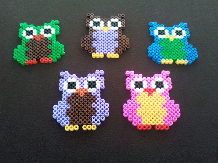 #owls made of #perler beads, see more on http://ililly.wordpress.com/2012/03/19/diy-eulen-mobile-aus-bugelperlen/