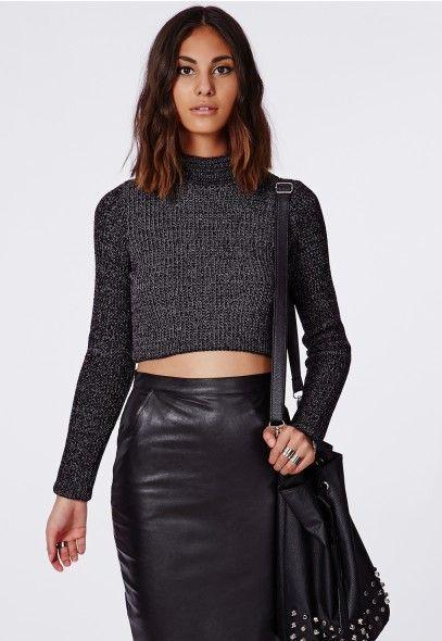Antonina Knitted Funnel Neck Crop Jumper Dark Grey - Knitwear - Missguided