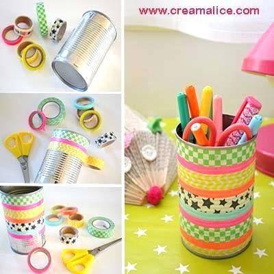 Pencil case DIY... from a can! ... organizaor de lapiz de lata