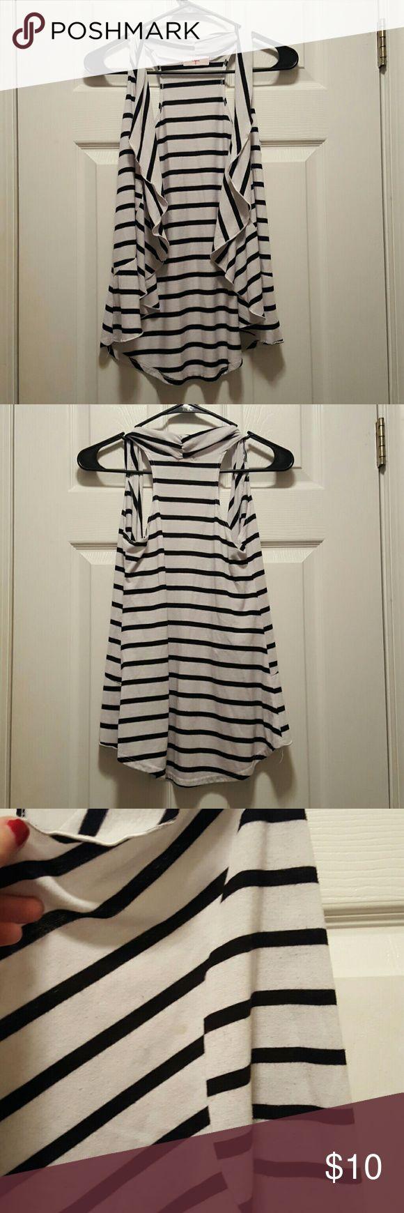 Vest Black and white, small stain under front fringe Aqua Jackets & Coats Vests