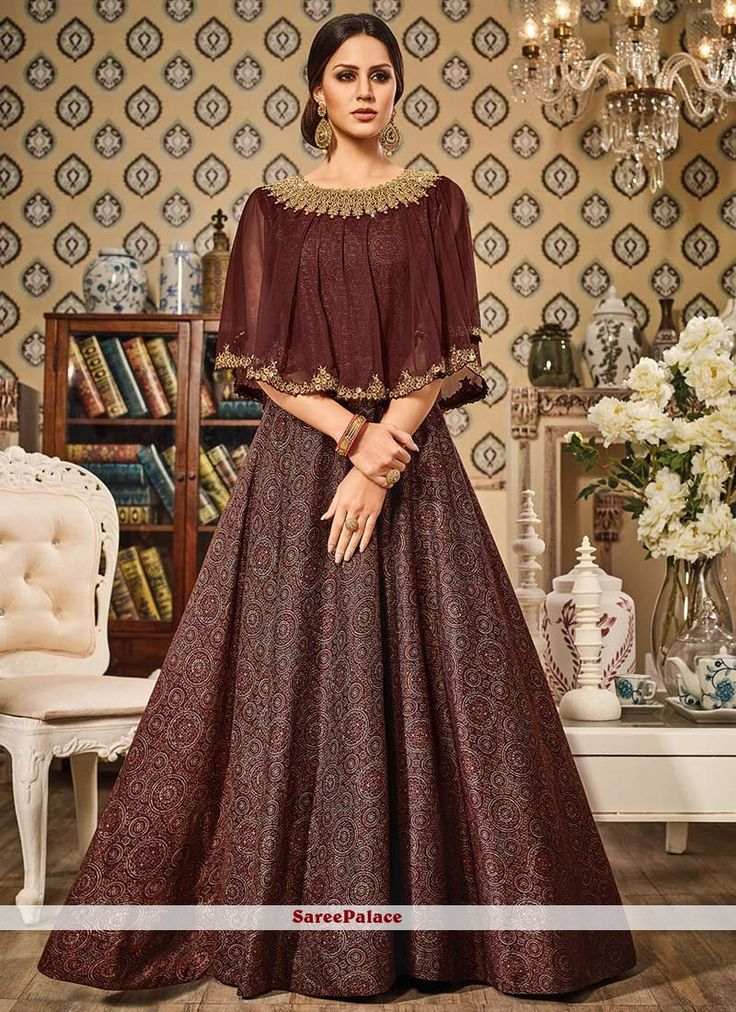 Picturesque Embroidered Work Brown Floor Length Anarkali Suit