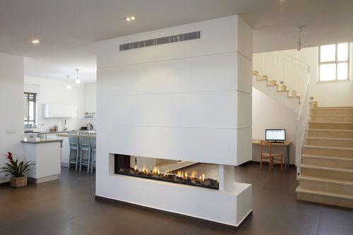 ORTAL - Chimenea de gas / de doble cara / hogar cerrado / moderna CLEAR 200 Ortal USA - No calienta en exceso la parte superior de la pared (Ok para colgar cuadros, TV..etc)