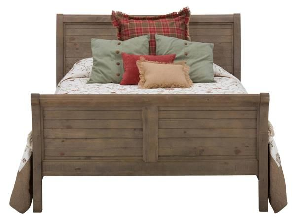 Slater Mill Transitional Pine Wood Queen Sleigh Bed