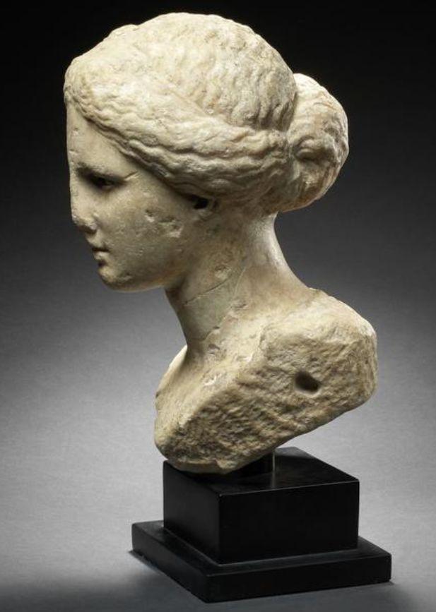A Greek marble bust of a goddess  Hellenistic Period, circa 3rd Century B.C.