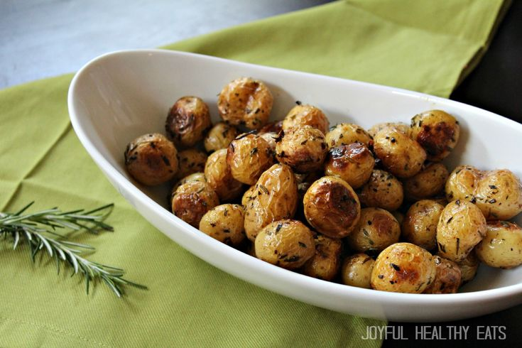 Garlic Herb Roasted Potatoes: 1.5lb mini yellow potatoes, 3 cloves minced garlic, 2T thyme, 2T rosemary, 3T olive oil, salt & pepper; wash potatoes, toss everything together, bake at 400 degrees for 30 mins