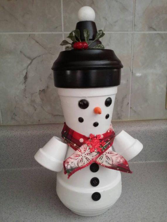 ... https://www.etsy.com/listing/489903261/clay-pot-snowman-candy-dish