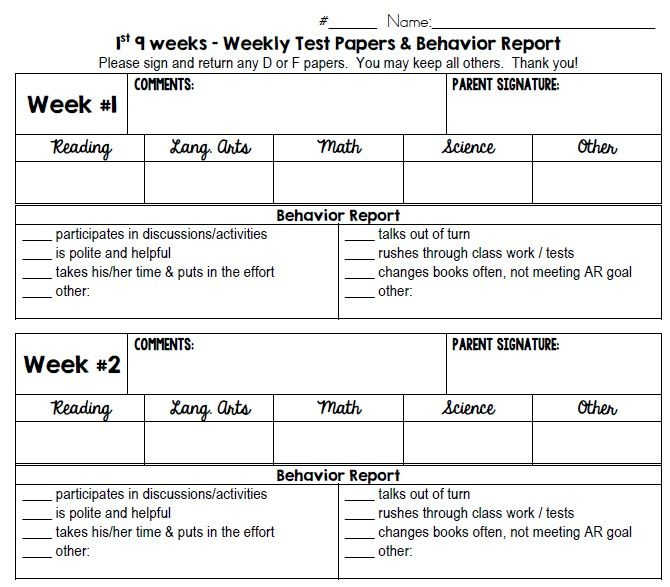 The  Best Weekly Behavior Report Ideas On   Daily