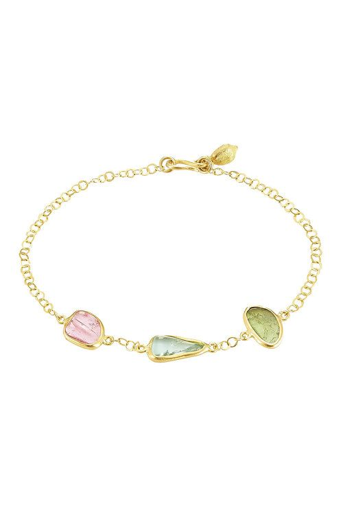 PIPPA SMALL PIPPA SMALL 18KT GOLD BRACELET WITH TOURMALINE STONES. #pippasmall #