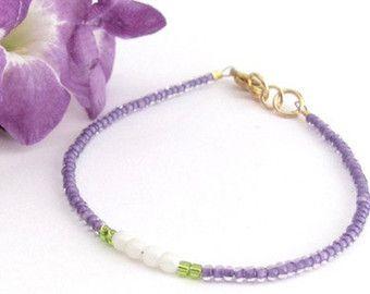 Colorato braccialetto bracciale Lilla verde amicizia Seed