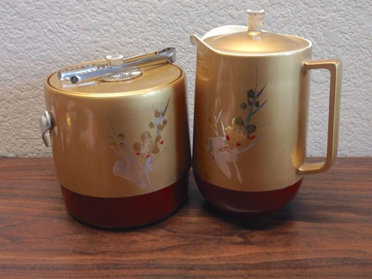 Vintage Small Midcentury Thermo PITCHER & ICE BUCKET & Tongs Gold Asian…