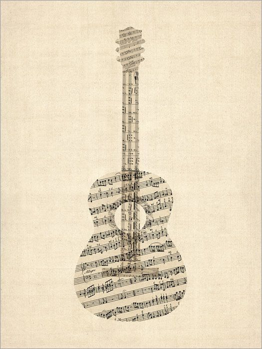 Acoustic Guitar Old Sheet Music Collage Art Print 523 by artPause
