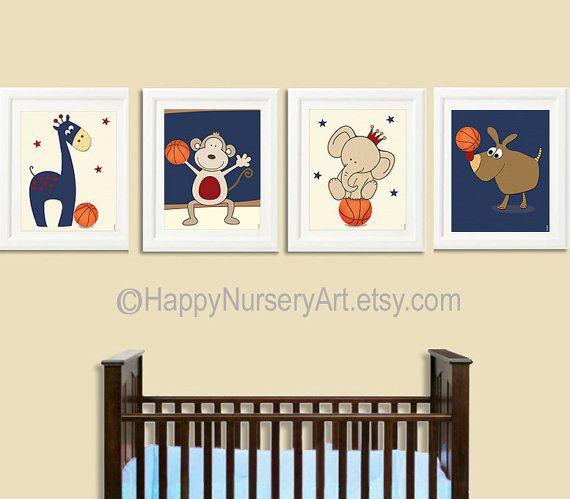 Basketball nursery wall art, baby boy nursery decor, animals, giraffe, elephant, monkey, dog