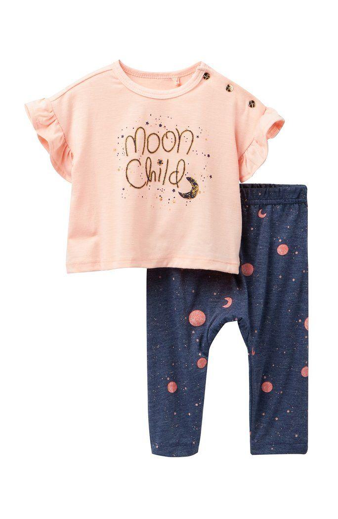 c50fd349dd82 Jessica Simpson - Moon Child Drapey Top   Leggings Set (Baby Girls 12-24M