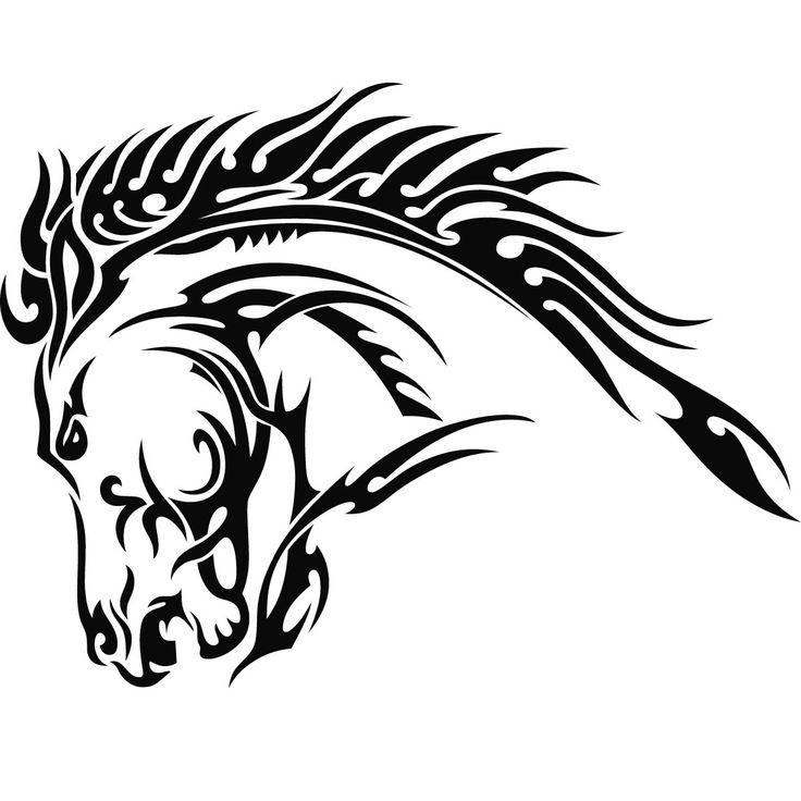 Again Tribal Horse Head Tattoo Design photo - 1