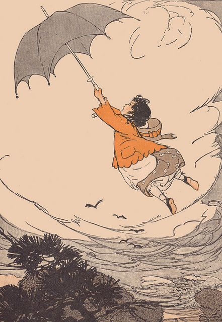 """""""And the wind picked up Lily Etta"""" from """"Story Hour Readers: Book II"""" by Ida Coe and Alice Christie, illustrated by Maginel Wright Enright, 1914."""