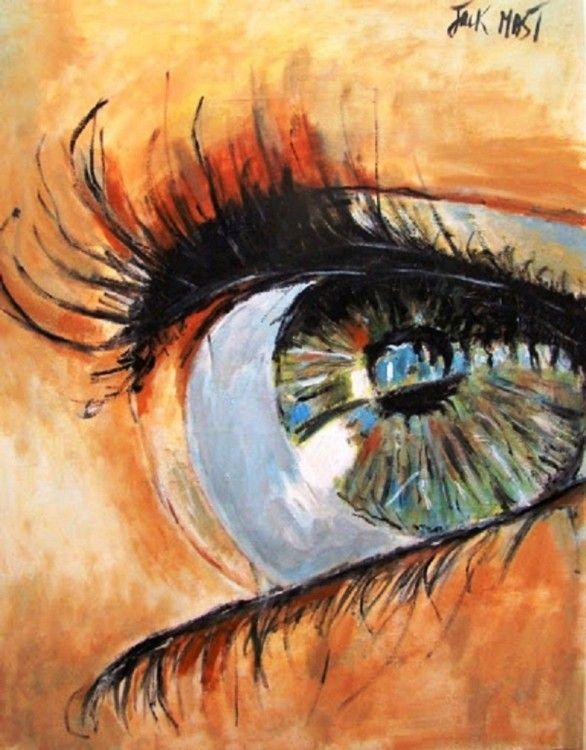 jack mast (©2014 artmajeur.com/jack-mast) oeil de femme regard de femme  oeil bleu fond rose huile sur toile , oleo,sobre,tela-80x100cm
