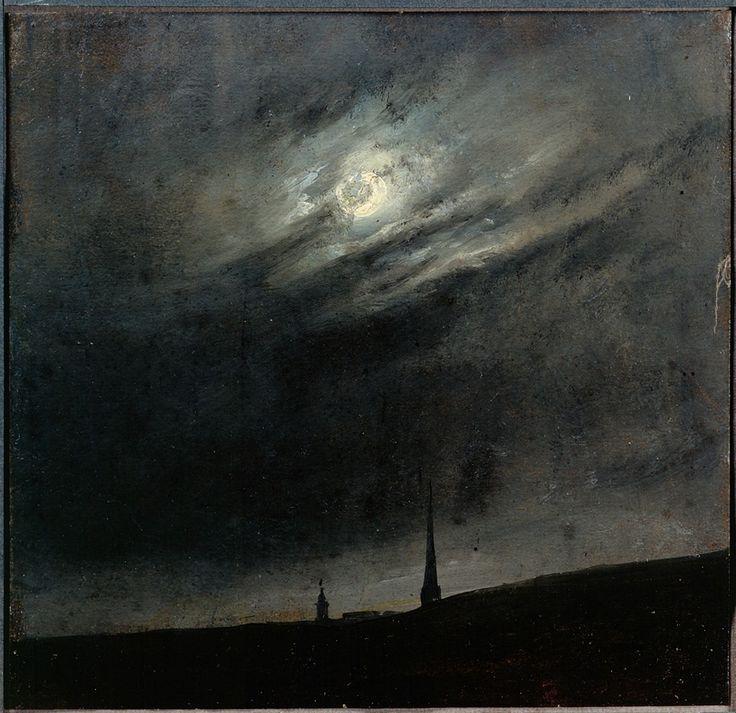 """tocamelot: """"Johan Christian Dahl - Moon Night Over Dresden, 1827 """""""