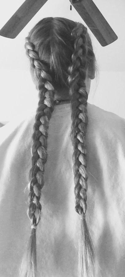DIY dutch braid pigtails